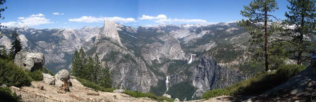 View of the Half Dome Trail from Glacier Point, Yosemite